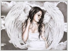 The Sad Angel Art Print Glossy Fantasy Wings Goth Tears by zindy, $14.95