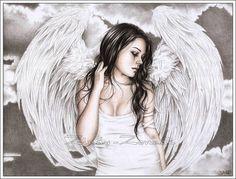 The Sad Angel Art Print Glossy Fantasy Wings Goth Tears by zindy, $14.95