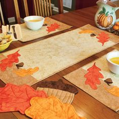 Autumn in Our Kitchen: Fall Quilted Table Runner, Place Mats, Hot Pads