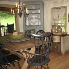 403 best images about Primitive & Colonial Decorating on . Primitive Dining Rooms, Country Dining Rooms, Primitive Kitchen, Primitive Furniture, Country Kitchen, Primitive Decor, Primitive Country, Country Homes, Country Living