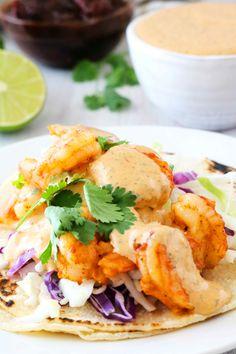 Baja Shrimp Tacos, Shrimp Taco Sauce, Shrimp Burrito, Wonton Tacos, Shrimp Wonton, Shrimp Taco Recipes, Mexican Food Recipes, Tortilla Recipes, Fish Tacos