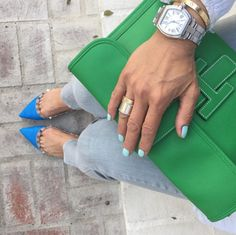 Spring Colors // Hermes 'Jige' Clutch, Valentino Flats, and Cartier 'Love' Bracelet and Ring
