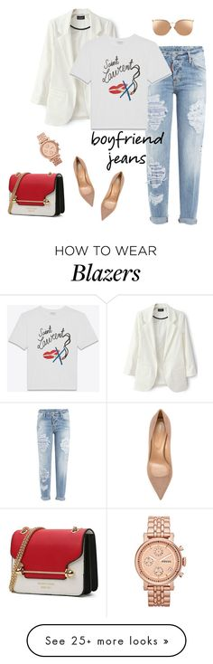 """outfit 6422"" by natalyag on Polyvore featuring Dsquared2, FOSSIL, Sergio Rossi, Yves Saint Laurent and Linda Farrow"
