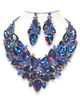Elegant Rich Statement Necklace/Earrings Aurora Borealis Blue Haute Couture