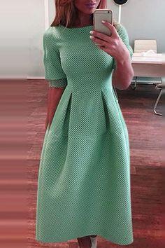 Green Round Neck Half Sleeve Dress - NEEDS: BETTER FABRIC, ADJUST HEM, TWEAK SLEEVE DESIGN