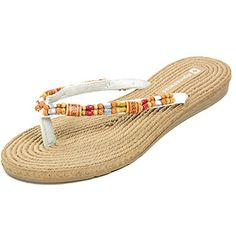 8c523aa568bce1 Alpine Swiss Womens Bohemian Padded Comfort Flip Flop Thong Sandals White  10 M US   Be