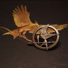 Mockingjay pin from Hunger Games.