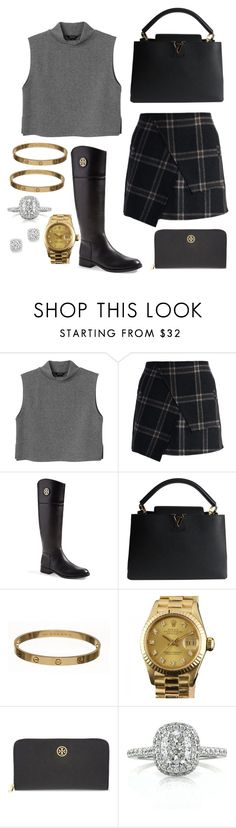 """Autumn"" by angelinakkhan ❤ liked on Polyvore featuring Monki, Chicwish, Tory Burch, Louis Vuitton, Cartier, Rolex, Mark Broumand and Bloomingdale's"