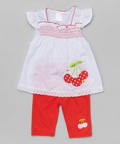 Another great find on #zulily! Red Cherry Tunic & Leggings - Infant & Toddler #zulilyfinds