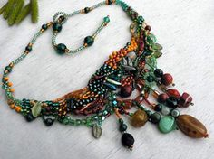 Elements of Design LINE - In Making and Designing Jewelry.  I may have pinned this post before but it is always worth another read. This free-form piece is a delight.  #seed #bead #tutorial