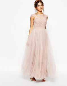 Image 1 ofLittle Mistress Ruched Bodice Maxi Dress With Pleated Tulle Skirt