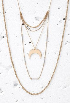 Layered Moon Charm Necklace | Forever 21 - 1000095743