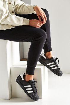 Adidas Black Superstar Sneakers