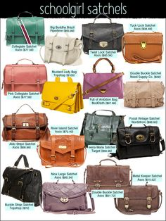 Bags. Love the green and tan bags