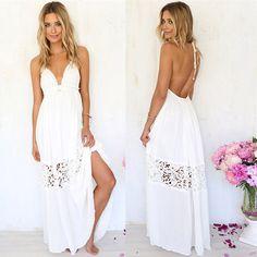 Dlouhé bílé letní šaty – Velikost L Na tento produkt se vztahuje nejen  zajímavá sleva dcb17a5c53