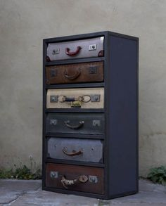 Suitcase dresser - vintage suitcases turned into dresser drawers