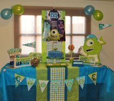 Awesome Monsters University birthday party dessert table!  See more party planning ideas at CatchMyParty.com!