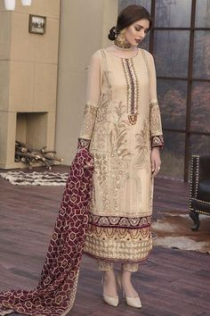 Motifz Luxury - Lawn - Almond Cream – Blossoms by Azz Pakistani Formal Dresses, Pakistani Wedding Outfits, Pakistani Dress Design, Indian Dresses, Indian Outfits, Lehenga Wedding, Shifon Dress, Party Dress, Casual Dresses