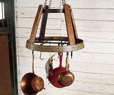 use an old barrel ring that i have sittin outside... Wine Barrel Rings, Wine Barrels, Barrel Projects, Diy Projects, Wine Barrel Furniture, Pot Hanger, Unique Woodworking, Furniture Making, Pot Racks