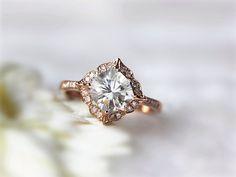 6.5mm  Cushion Moissanite and Diamonds Engagement Ring 14K Rose Gold Wedding Ring Unique Moissanite Wedding Jewelry Cushion Engagement by InOurStar on Etsy https://www.etsy.com/listing/226138024/65mm-cushion-moissanite-and-diamonds