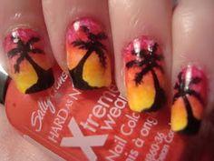 Sunset Palm tree nail art. Follow at paintthatnail.com
