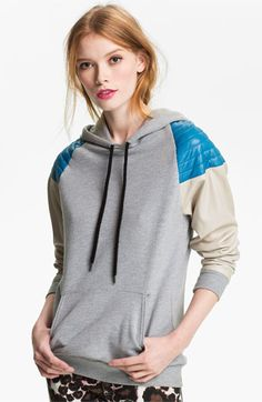 Rebecca Minkoff Quilted Leather Shoulder Hoodie