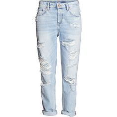 Boyfriend Low Ripped Jeans $39.99 (1.130 UYU) ❤ liked on Polyvore featuring jeans, pants, bottoms, calças, ripped blue jeans, ripped denim jeans, distressed boyfriend jeans, boyfriend jeans and denim jeans