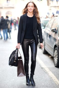 the leather pants.