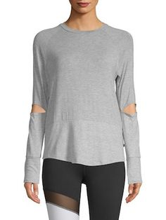 61c1cd0d5d35f Body Language Sportswear Colorblock Pullover Knit colorblock top featuring  elbow cut-outs Crew neck Long sleeves Banded cuffs Measurements: * 37