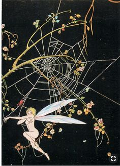 Fairy caught in a web.  Do not know artist?