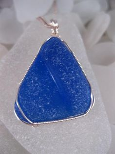 Cobalt Blue Sea Glass Necklace Sterling Silver by vroberts1017