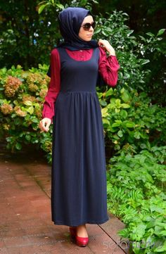 Tesettür Elbise WB 5401-06 Bordo Lacivert