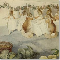 Beatrix Potter - Happenings in the Animal World - A Rabbits Christmas Party - The Meal Painting