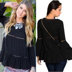 The JORDAN Bell sleeve top - BLACK BOTTOM PRICE% rayon bell sleeve boho top. So simple yet so striking. ‼️️NO TRADE‼️ Tops Tees - Long Sleeve