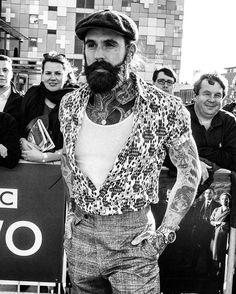 Ricki Hall - full thick dark beard mustache beards bearded man men mens' style vintage retro dapper fashion clothing tattoos tattooed #beardsforever