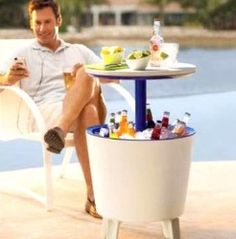 Cool Bar Cocktail Table Side Table and Cooler in One  $69.98- Perfect for hot summer days/nights #WinAGift @Gifts.com