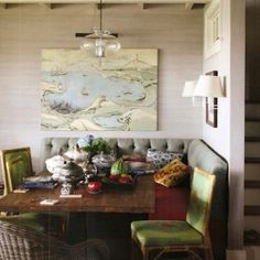 A banquette and chairs can be the perfect solution for adding practicality and beauty to a dining corner.