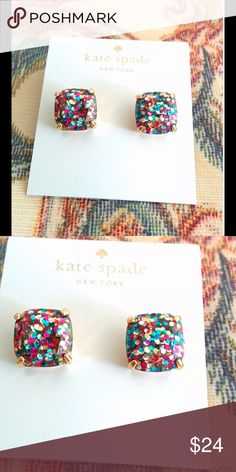 NWOT Kate Spade Multi Glitter Square Earrings New without tags Kate Spade Multi Glitter Square Earring Studs. Measures approximately .5 inches. PRICE is FIRM kate spade Jewelry Earrings