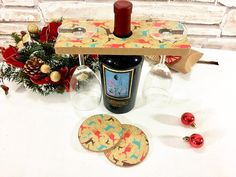Unusual Christmas gift for friend set 2 coaster Wine Glass
