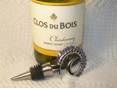 Wine Stopper Tanzanite Colored Swarovski Crystal by GagaGems, $15.00