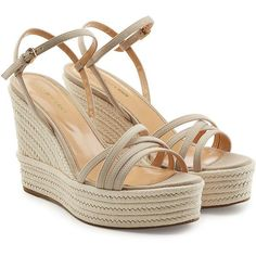 Sergio Rossi Leather Wedge Sandals (11,395 HNL) ❤ liked on Polyvore featuring shoes, sandals, beige, summer shoes, sergio rossi sandals, leather wedge sandals, wedge heel shoes and beige leather sandals