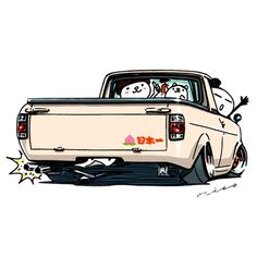"""car illustration """"crazy car art"""" jdm japanese old school """"SUNNY TRUCK"""" original characters """"mame mame rock"""" / © ozizo Official web shop """"STAY CRAZY (in Society6)"""" Official web shop """"ozizo(in Redbubble"""") """"Crazy Car Art"""" Line stickers """"Crazy car Art""""..."""