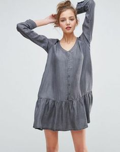 e56e12363c1 ASOS Denim Dropped Waist Denim Dress in Washed Black Denim Ideas