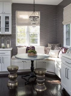 Small Chandelier Over The Breakfast Nook Bench | TheBestWoodFurniture.com