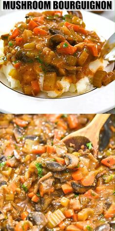 This Mushroom Bourguignon is so rich in flavor. It's a vegan spin on a traditional French recipe, and you won't believe how delicious it is! Vegetarian Recipes Videos, Whole Food Recipes, Vegan Recipes, Cooking Recipes, Vegetarian French Recipes, Easy French Recipes, Mushroom Bourguignon, Bourguignon Recipe, Easy Dinner Recipes