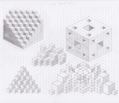 drawings on isometric dot paper, pencil Isometric Shapes, Isometric Grid, Isometric Drawing, Isometric Design, Graph Paper Drawings, Dotted Drawings, Graph Paper Art, 3d Drawings, Math Art