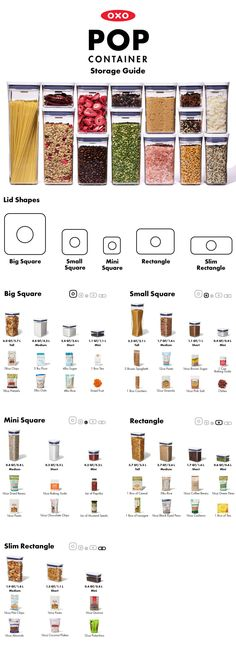 Guide to OXO POP Containers - How to Use the Dry Food Storage Containers There are endless possibilities for storing dry foods in OXO POP Containers and our handy guide will help you determine what to store in each size container. Oxo Pop Containers, Pantry Storage Containers, Dry Food Storage, Container Organization, Flour Storage, Food Storage Rooms, Food Storage Organization, Fridge Storage, Kitchen Containers