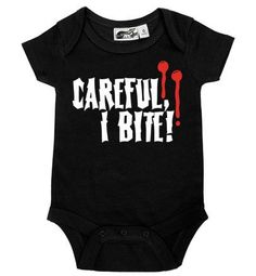 Careful, I Bite Vampire Bite One Piece Goth Baby Clothes, Babies Clothes, Babies Stuff, Baby Boy Outfits, Kids Outfits, Dress Outfits, Newborn Outfits, Gothic Baby, Rockabilly Baby