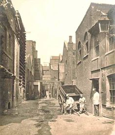 This photograph of Upper Fore Street , Lambeth North, 1860, shows various factory and manufacturing premises. Alfred Hunt, bone merchant's warehouse can be seen on the far right, and a purpose built whiting storehouse on the centre left. Most of the buildings and streets in the area were replaced by the Albert Embankment, 1866 - 1870.