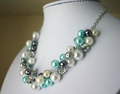 Tiffany Blue + Gray Pearl Cluster Necklace - Handmade (customizable!) Women's Necklace - Full Cluster